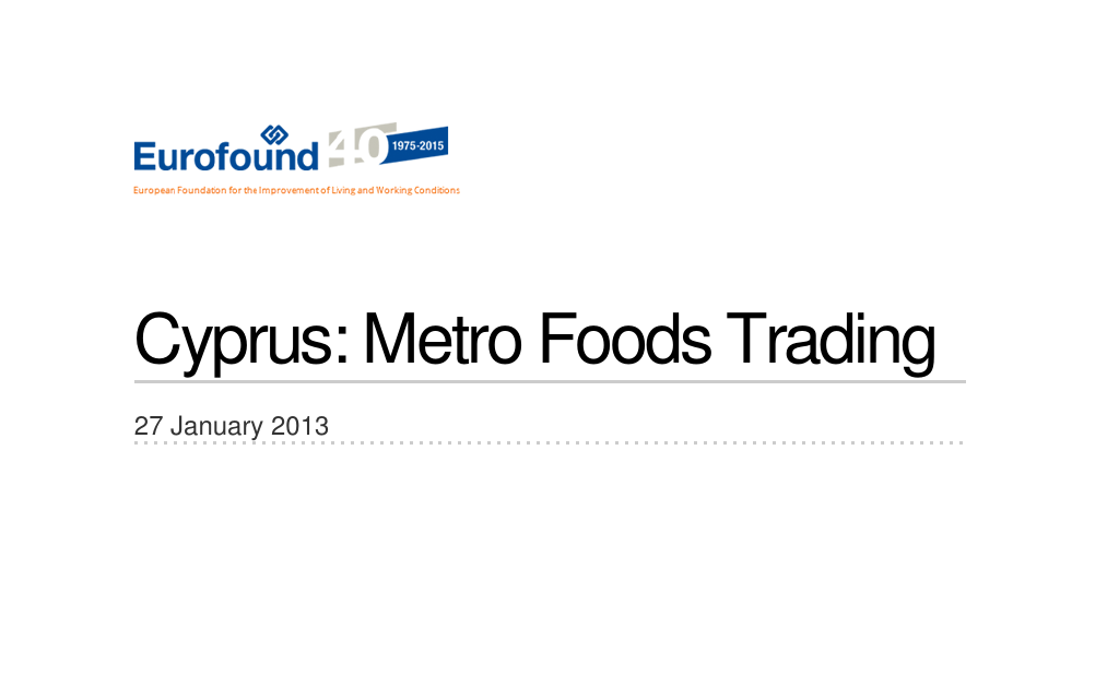 Climate change Restructuring Metro Foods